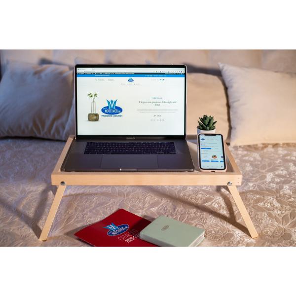 vassoio letto legno computer