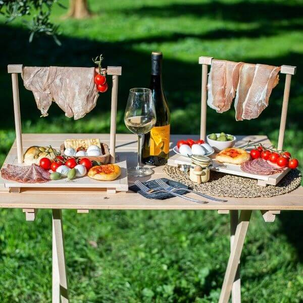 Tagliere servizio aperitivo appendi prosciutto in legno di faggio - S - 31x18x25,5 (2) (1)